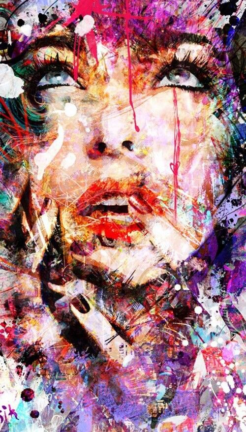 Beautiful Colorful Abstract Art | abstract, art, colorful, girl, love, nails, painting, woman