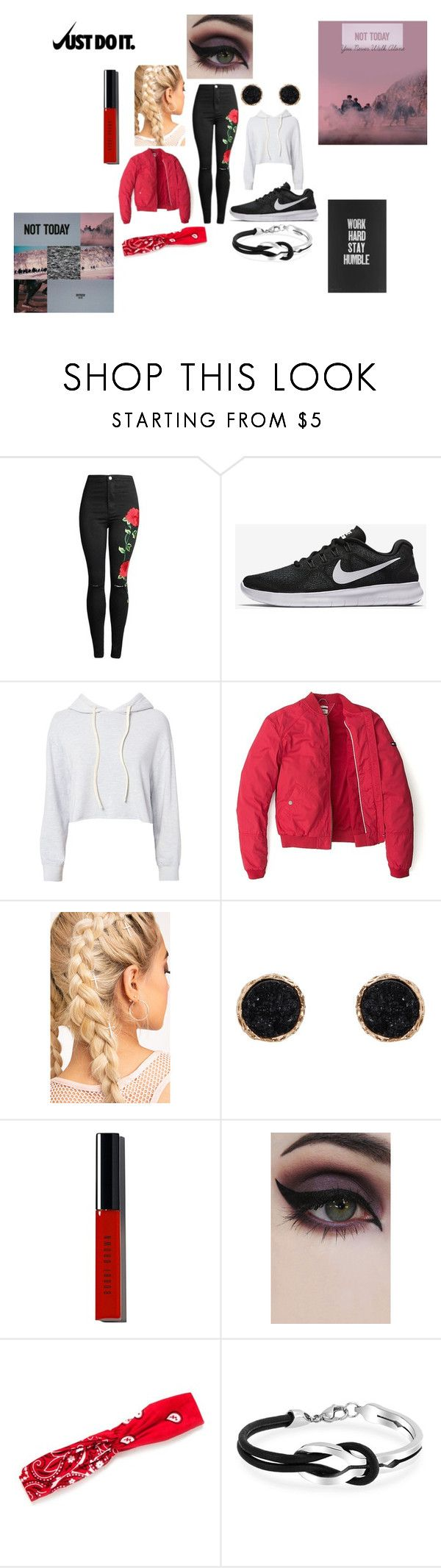 """not today bts inspired outfit"" by aholabeth on Polyvore featuring NIKE, Monrow, Tommy Hilfiger, Humble Chic, Bobbi Brown Cosmetics, Concrete Minerals, Red Camel and Bling Jewelry"
