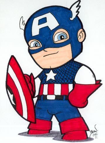 Chibi-Captain America. by hedbonstudios.deviantart.com on @deviantART