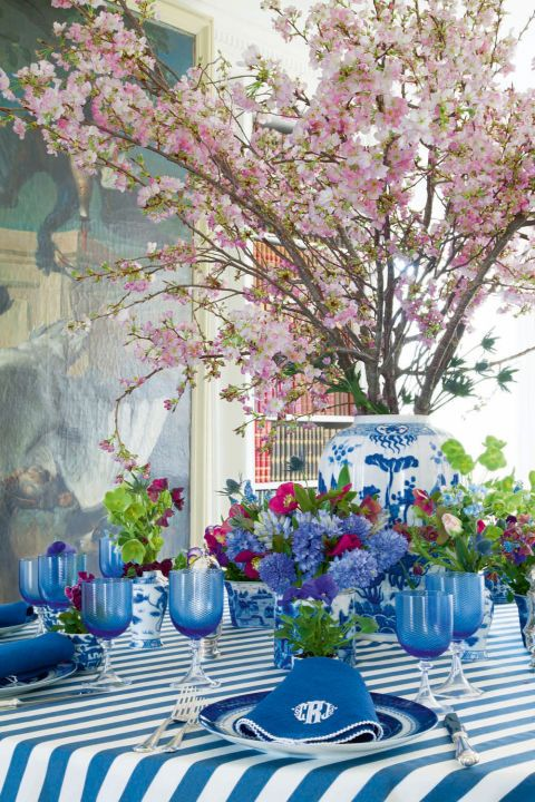 House Beautiful    Bring Spring to your home early combining flowers with blue and white Chinese porcelain. Note that ginger jars are perf...