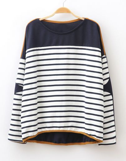Navy Batwing Sleeve Striped Asymmetric Loose T-shirt pictures