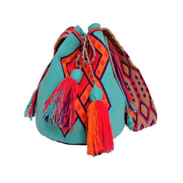 Wayuu Mochila Bag found on Polyvore featuring polyvore, women's fashion, bags, handbags, accessories, purses, red bags, man bag, red purse and handbags purses
