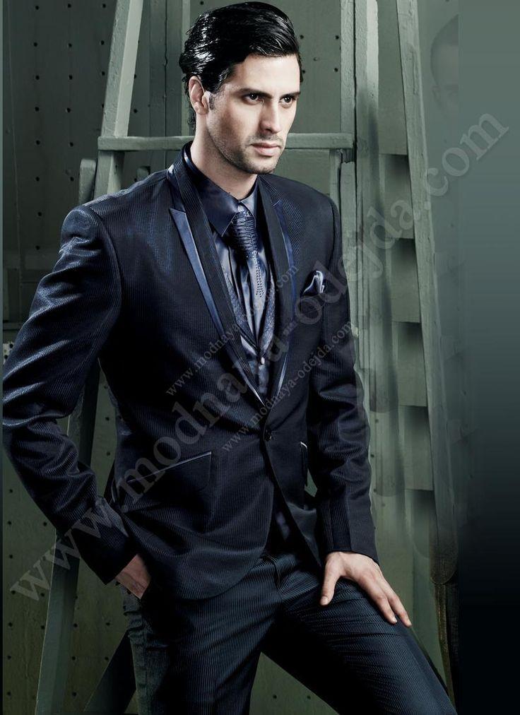 Тёмно-синий молодёжный мужской костюм-тройка (с жилетом ...  Темно Синий Костюм Рубашка