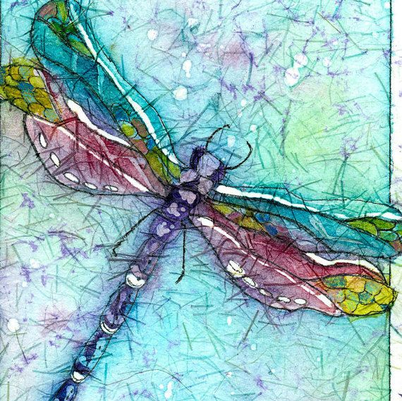 Watercolor batik on rice paper - nice!  A Dragonfly showing his colors of turquoisepurple by CarolesStudio