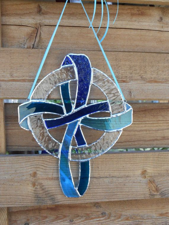 Stained Glass Knotwork Cross -Blue - Clear -Suncatcher
