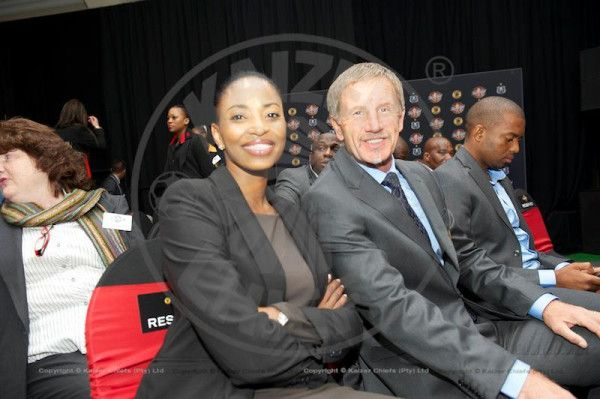 Jessica Motaung with Stuart Baxter during the launch of the Carling Black Label Cup #CarlingCup