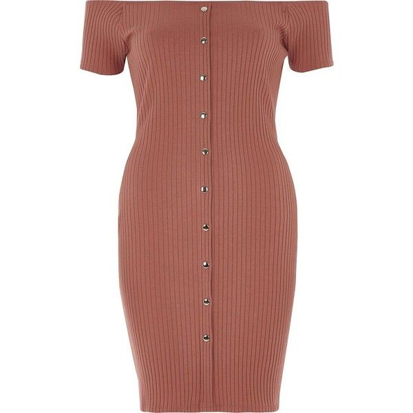 River Island Pink popper front bardot dress (1.480 UYU) ❤ liked on Polyvore featuring dresses, bodycon dresses, pink, women, snap dress, short-sleeve dresses, pink dress, brown bodycon dress and pink short sleeve dress