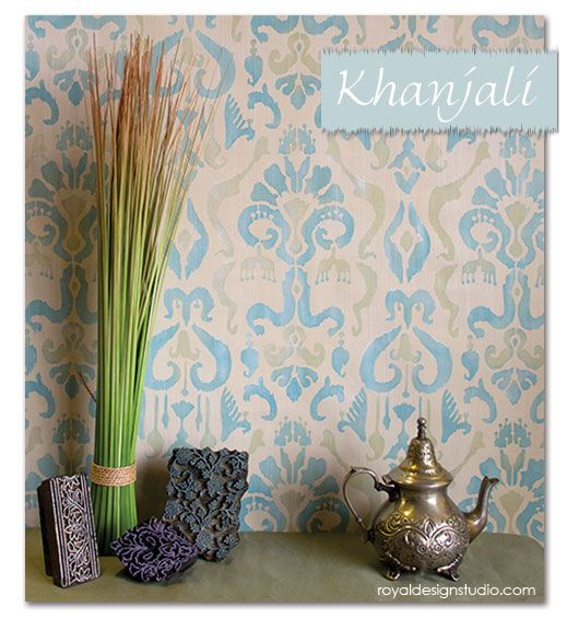 how to stencil an ikat fabric effect, home decor, paint colors, painted furniture, wall decor, Completed Khanjali Ikat Fabric Effect