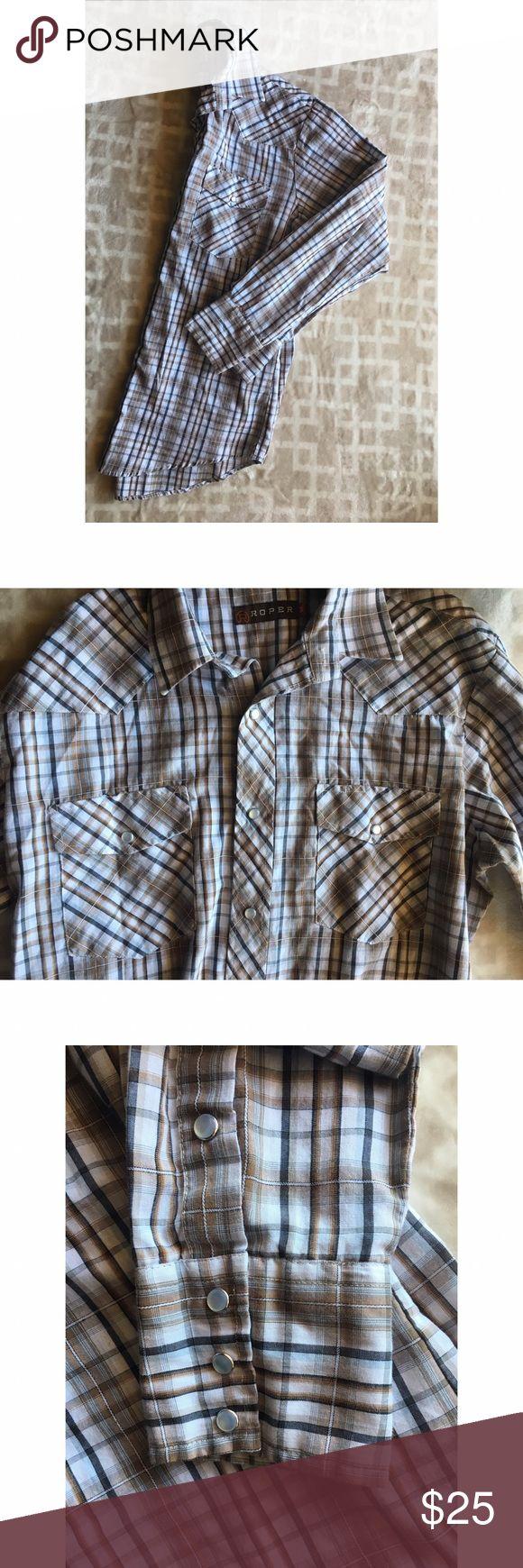 Men's Tan Pearl-Snap Plaid Shirt Tan and Cream Pearl-Snap Long-Sleeve. Great Condition! Roper Shirts Casual Button Down Shirts