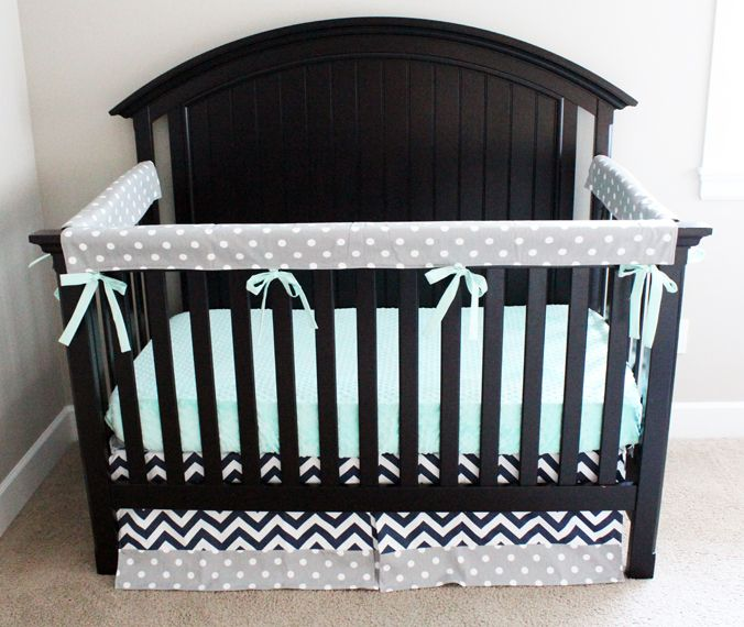 Best This Modern Mint Navy And Gray Crib Bedding From 400 x 300