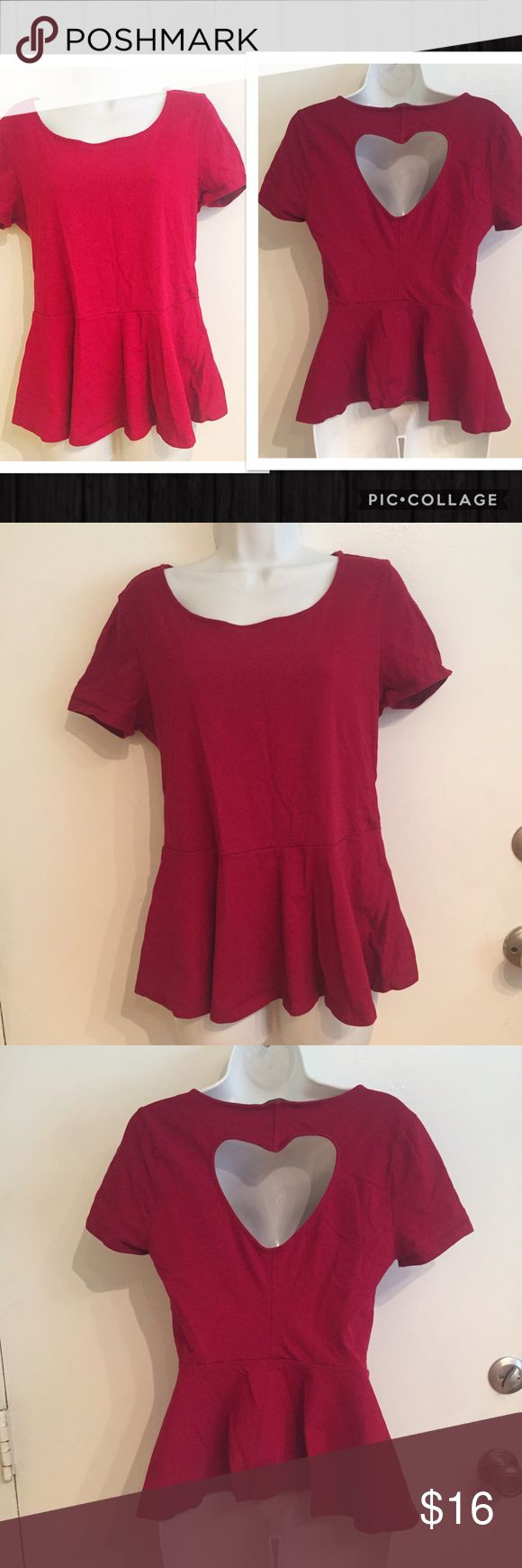 Forever 21+ Red Peplum Heart Cut Out Top Forever 21+ red Peplum Heart Cut Out Back Top. Size 1x. #forever21 #plus #plussize #peplum #red #heart #cutout #top #punkydoodle  No modeling Smoke free home I do discount bundles Forever 21 Tops