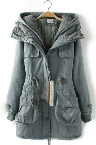 I LOVE this shade of Blue! Super Warm and Cozy Trench Coat Style Outerwear #blue #winter #fashion