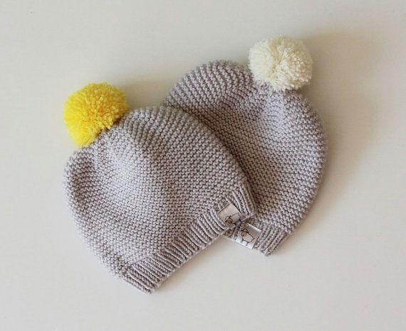 Knit Garter Stitch Baby Hat : Hand gestrickte Baby-Hut / Neugeborenen Baby Hut gestrickt / stricken Baby Hu...