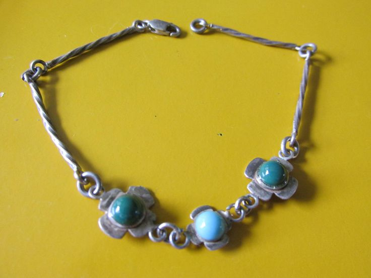 "Vintage Dainty FLORAL STERLING 7"" BRACELET w/ Turquoise Cabochons Hand Crafted Marked 925 Est 1950's Ladies Collectible All Occasion Gift by GrammiesCupboard on Etsy"