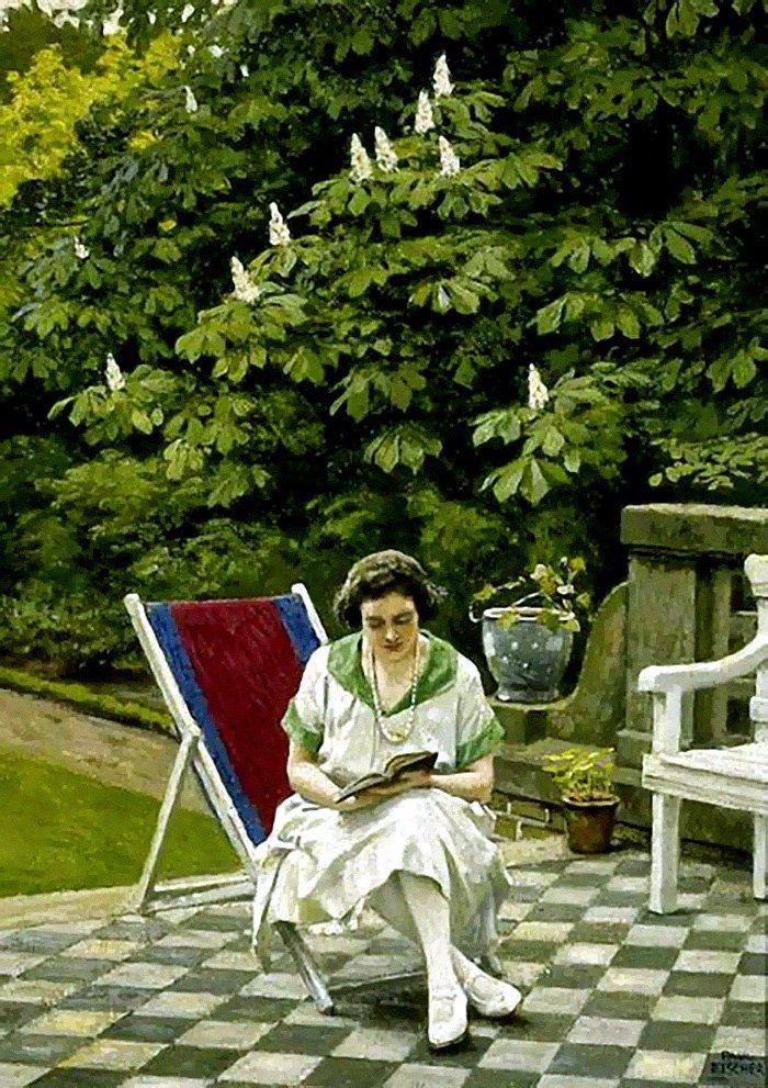 Reading on the Terrace. Paul Gustave Fischer (Danish, 1860-1934). Oil on canvas. Fischer, known for his realistic depictions of city and la...