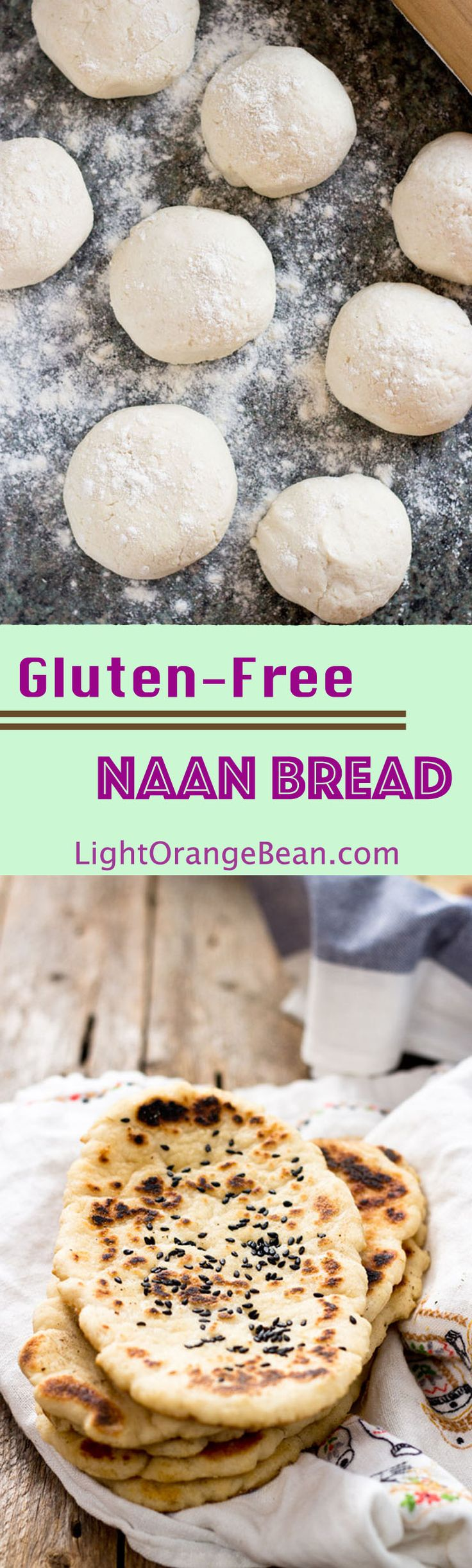 This pillowy gluten-free soft naan is the best gf flatbread I've ever had.  You can use it to scoop other foods, such as sauce or dips, like you would do in an authentic Indian restaurant.