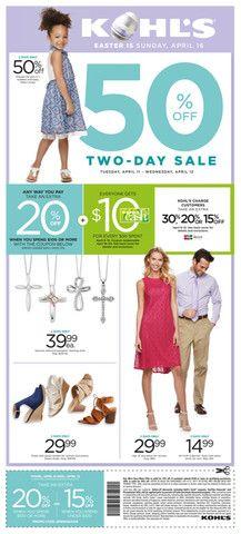 Kohl's Day Sale April 11 - 12, 2017 - http://www.olcatalog.com/dept-clothing/kohls-sale.html