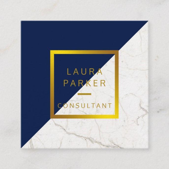 Blue Marble Gold Faux Professional Construction Square Business Card Zazzle Com Square Business Card Square Business Cards Design Construction Business Cards