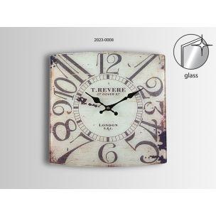 Reloj de pared en madera cuadrado y cristal, parce desgastado y antiguo con numeros negros www.relojesplatayacero.com