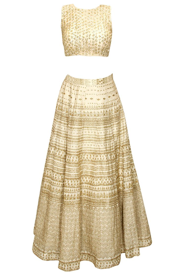 Cream sequins embellished lehenga set available only at Pernia's Pop-Up Shop.