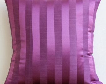 Decorative Throw Pillow Cover Couch Pillows Sofa Pillow Bed Pillow Toss Pillow 16 x 16 Purple Pillow Case Bedding Purple Stripe Home Decor