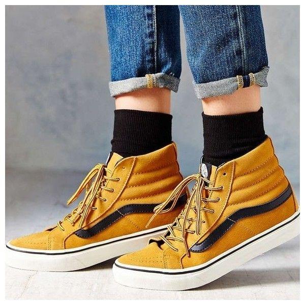 VANS sk8-hi slim hiker shoes-women's ❤ liked on Polyvore featuring shoes, sneakers, mustard shoes, mustard yellow sneakers, vans footwear, vans shoes and vans sneakers