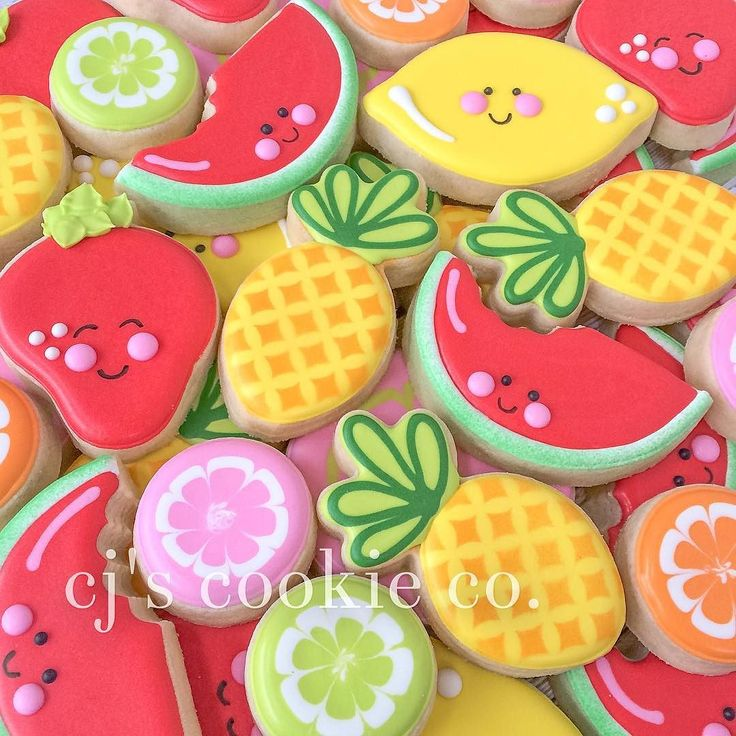 Tutti frutti cookies for a sweet little girl's 1st birthday. I hope you guys had a great party @loveandmacarons !! by cjscookieco