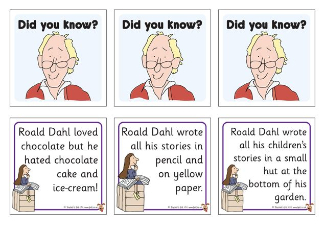 Teacher's Pet - Roald Dahl Did You Know? Fact Cards - FREE Classroom Display Resource - EYFS, KS1, KS2, facts, did you know, flap