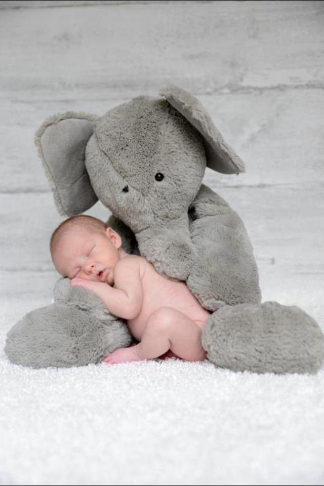Cute baby with elephant #cutebaby
