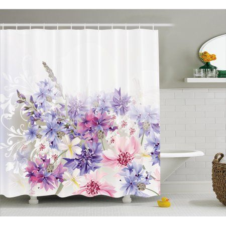 Lavender Shower Curtain, Pastel Cornflowers Bridal Classic Design Gentle Floral Wedding Decor Print, Fabric Bathroom Set with Hooks, 69W X 75L Inches Long, Violet Pink White, by Ambesonne