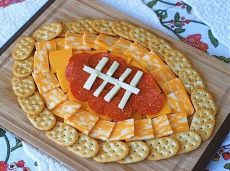 Easy gametime snack: Set up your crackers, cheese and pepperoni in the shape of a football! Description from pinterest.com. I searched for this on bing.com/images