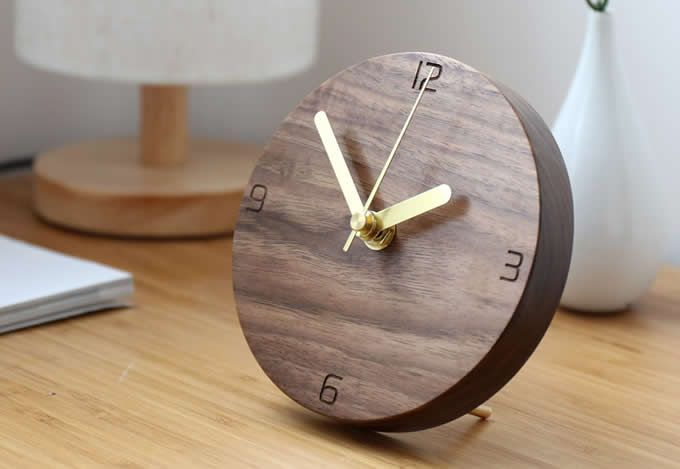 Handmade Black Walnut Wood Round Silent Desk Clock Black Walnut