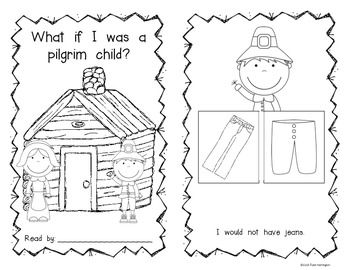 """Today and The Past: """"What If I Was a Pilgrim Child?"""" Students will read and answer what they would have had/not had long ago. Two different versions included. $"""