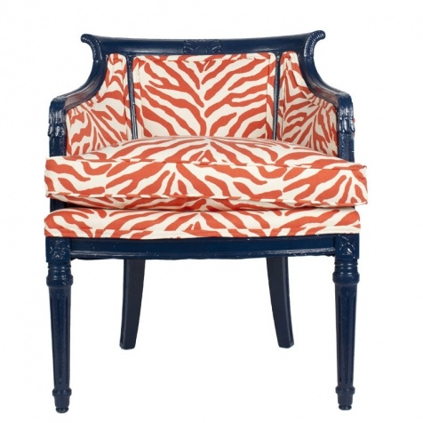 zebra print upholstery fabric tub chair design | Painted navy chair with coral/cream zebra upholstery ...