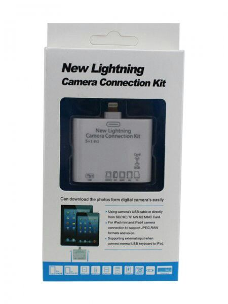 New Lightning Camera Connection Kit  The NEW LIGHTNING Camera Connection Kit gives you three new ways to import photos and videos from a digital camera:  1. Using your camera's USB cable 2. Directly from a SD card 3. Directly from a microSD card  It is incredibly easy to download photos and videos from your camera to your iPad using the Connection Kit. Simply plug it into your iPad mini and the Photos app will open, letting you upload files in one step. The Photos app lets you choose which…