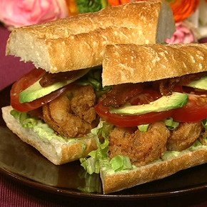 Emeril Lagasse's Fried Shrimp Po' Boy with Jalapeno Mayonnaise and Avocado