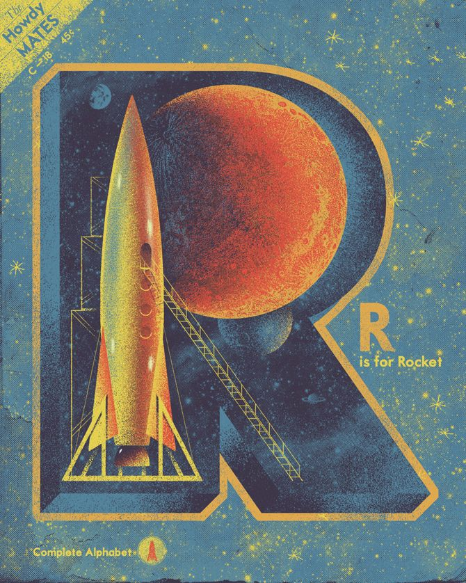 R is for Rocket: Wall Art, Spaces, Illustrations, Kevin Howdeshel, Graphics Design, Rocket Vintage Poster, Letters Art, Design Idea, Ray Bradburi
