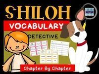 Shiloh by Phyllis Reynolds Naylor100+ Vocabulary Words110 pages of color coded Vocabulary Task Cards that can be used to present vocabulary prior to reading. Definition Task Cards can be used for matching games or added to a vocabulary notebook. 110 pages