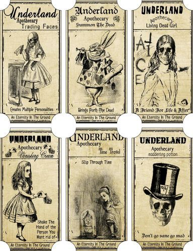 Halloween 6 Large Alice in Wonderland Scarry Underland Bottle Apothecary Labels | eBay