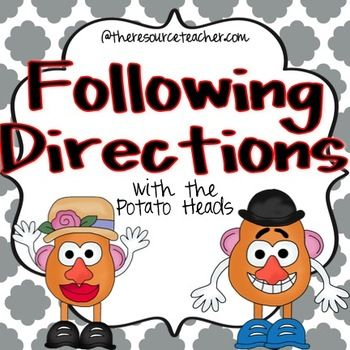 Following Directions with the Potato Heads. Repinned by SOS Inc. Resources pinterest.com/sostherapy/.