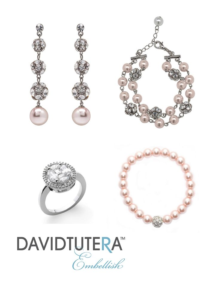 "Embellish by David Tutera ring style Elizabeth, earring style Sydney Crystal Ball Pink, and bracelet style Sydney Crystal Ball Pink sold separately. Pair it with any Tea rose dress like Style 115236 ""Meadow"" by David Tutera for Mon Cheri.  Stop by J Birds Bridal in Culver City, CA to try them on! See JBirdsBridal.com for more information."