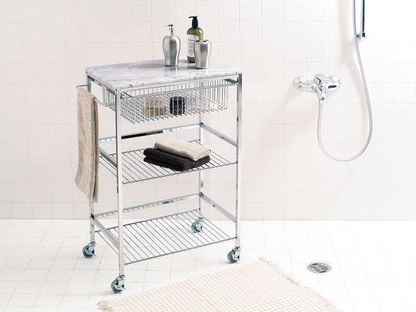 天板に天然大理石を使用した高級感のあるワゴンです。中段、下段はオープンラックになっていますので、キッチンをはじめバスルームやサニタリーで機能的にご使用いただけます。取手左右付け替え可。