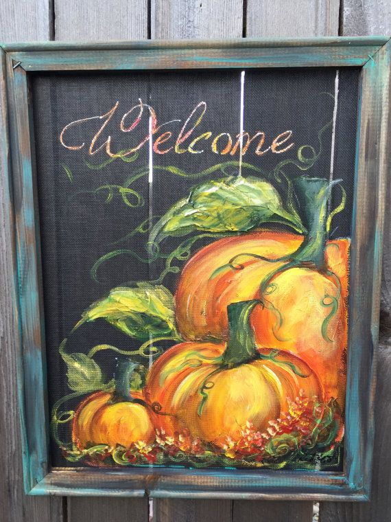 Pumpkin art screen  FALL Fall decor Welcome by RebecaFlottArts