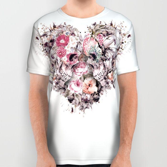 Momento Mori VIII All Over Print Shirt #skull #love #heart #flowers #digitalart #society6