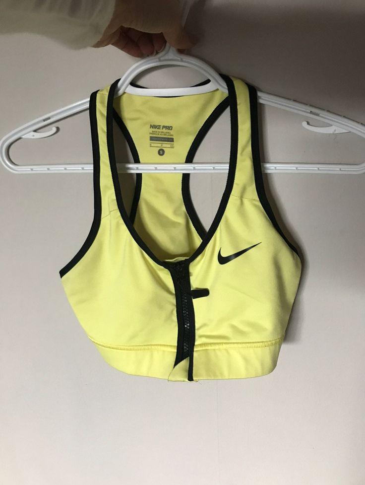 Small yellow nike pro drifit sports bra with zipper front