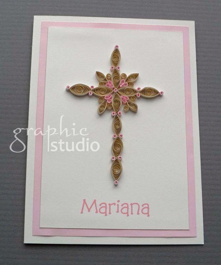 Invitaci n con detalle de filigrana de papel hecha a mano - Como hacer tarjetas para comunion ...
