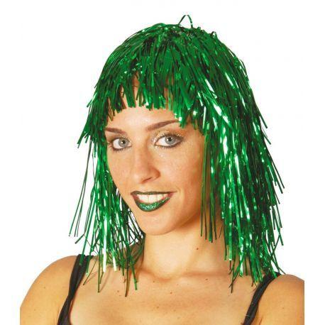 Peluca Verde Brillante Lumalina perfecta para tus fiestas.