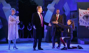 The Public Theater's production of Julius Caesar. Delta Air Lines is pulling its sponsorship for portraying Julius Caesar as the Donald Trump look-alike in a business suit who gets knifed to death on stage.
