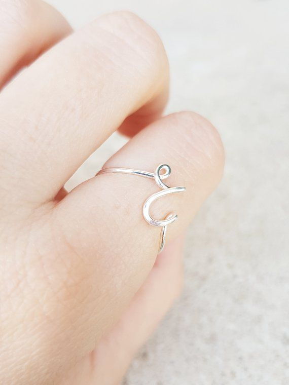 Sterling silver preliminary ring, sterling silver personalised ring, stackable ring, letter ring, silver jewelry, silver rings customized ring DD