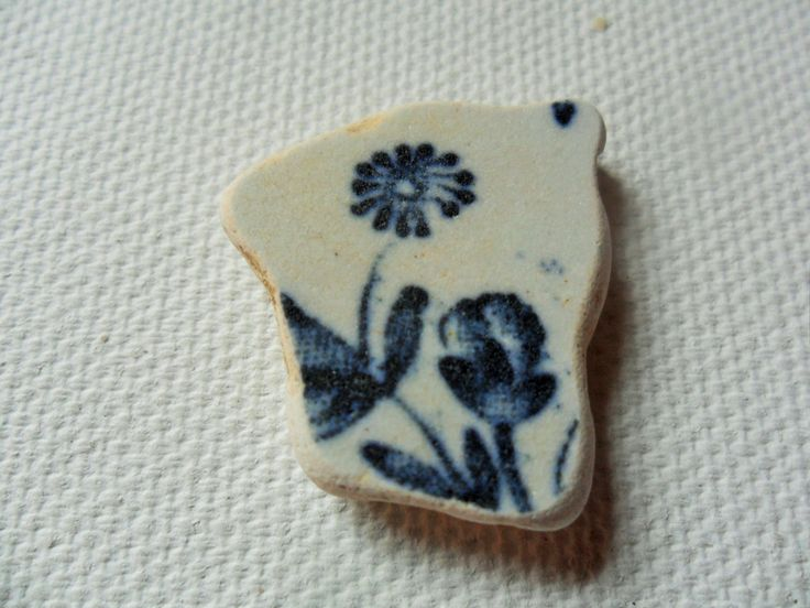 Delicate blue flower sea pottery - Lovely English beach find from Lancashire by…